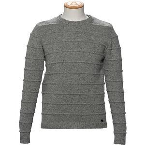 Alchemy Equipment 3GG Lambswool Tweed Stripe Stitch Crew Neck Pullover Herr Grey Tweed Grey Tweed