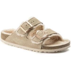 Birkenstock Arizona Sandals Suede Leather/Sheepskin Dam Nude/Nude Nude/Nude