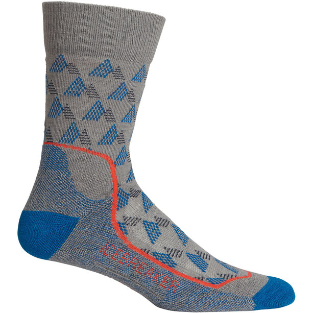 Icebreaker Hike+ Light Crew Elevation Socks Herr timberwolf/isle/chili red