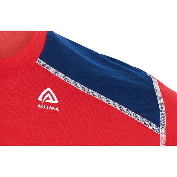 Aclima LightWool Reinforced Crew Neck Shirt Herr high risk red/insignia blue