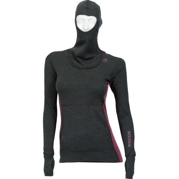 Aclima WarmWool Hood Sweater Dam marengo/damson