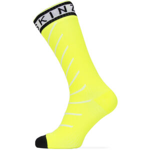 Sealskinz Waterproof Warm Weather Mid Socks with Hydrostop Neon Yellow/Black/White Neon Yellow/Black/White