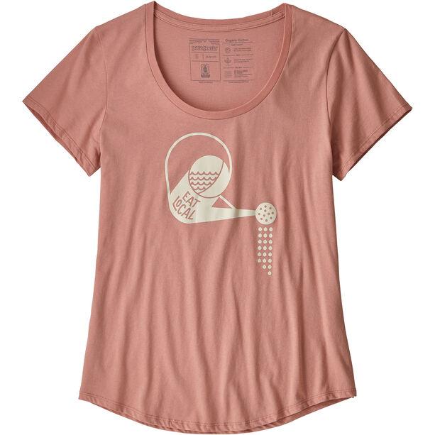 Patagonia Eat Local Rain Can Organic Scoop T-shirt Dam flora pink