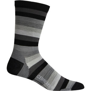 Icebreaker Lifestyle Ultralight Crew Stripe Socks Herr Black Black