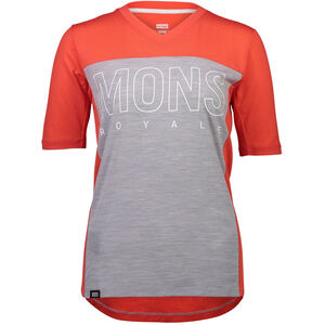 Mons Royale Phoenix Enduro V-Neck T-Shirt Dam poppy/grey marl poppy/grey marl