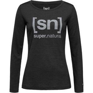 super.natural Essential I.D. LS Dam jet black melange/vapor grey logo jet black melange/vapor grey logo
