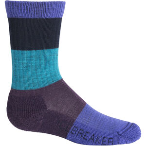 Icebreaker Hike Light Crew Macro Stripe Socks Barn Mystic/Lotus Mystic/Lotus