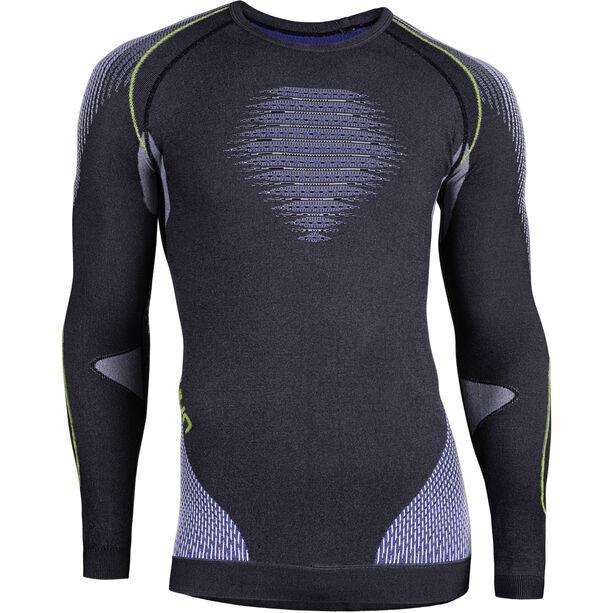 UYN Evolutyon Melange UW LS Shirt Herr anthracite melange/blue/yellow shiny