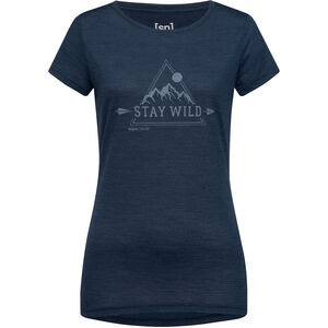super.natural Print Tee Stay Wild Dam blue iris melange/vapor grey blue iris melange/vapor grey