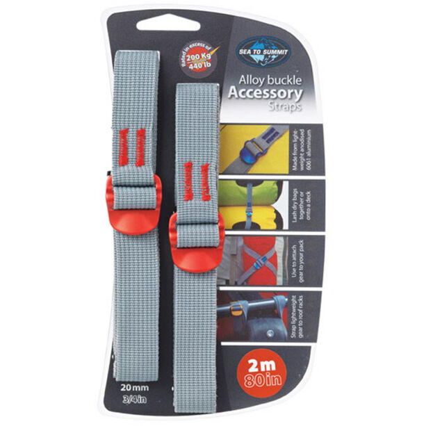 Sea to Summit Tie Down Accessory Strap with Hook 20mm 2m red