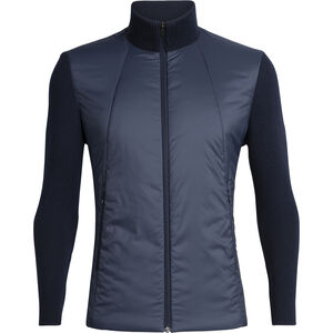 Icebreaker Lumista Hybrid Sweater Jacket Herr Midnight Navy Midnight Navy