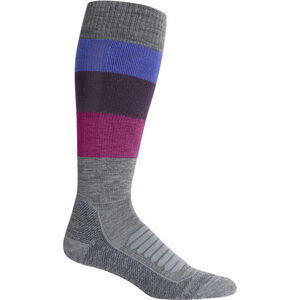 Icebreaker Ski+ Medium OTC Wide Stripe Socks Dam Gritstone Heather Gritstone Heather