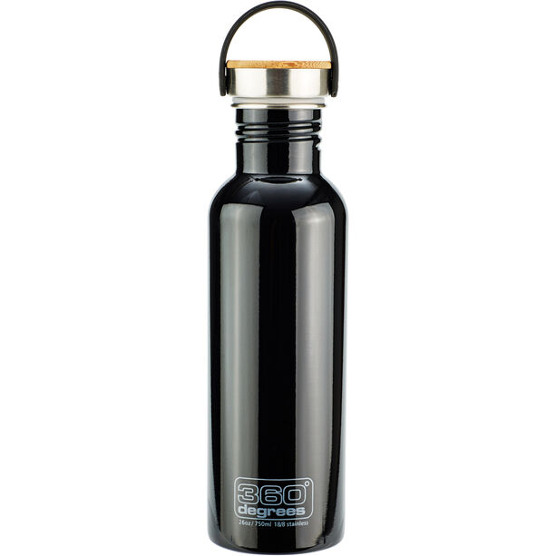 360° degrees Stainless Drink Bottle with Bamboo Cap 750ml black