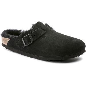 Birkenstock Boston Sandals Suede Leather/Sheepskin Dam Black/Black Black/Black