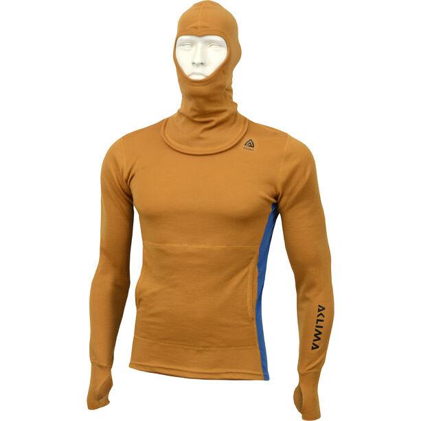 Aclima WarmWool Hood Sweater Herr sudan brown/blue sapphire