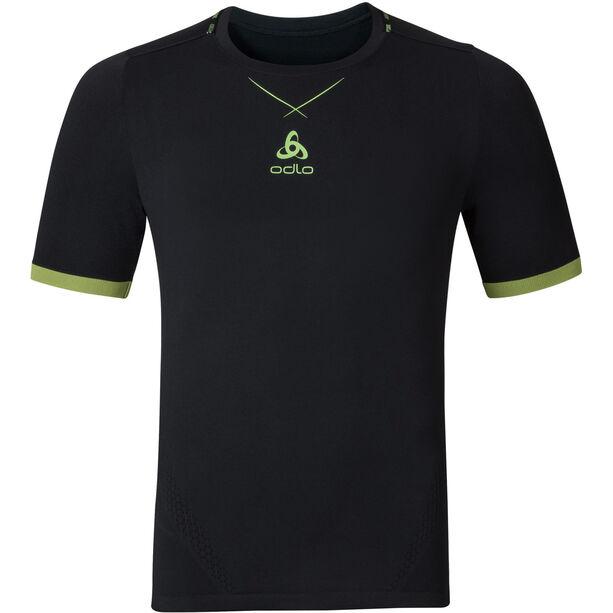 Odlo Ceramicool Seamless Shirt S/S Crew Neck Herr black-safety yellow