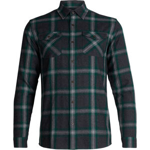 Icebreaker Lodge LS Flannel Shirt Herr jet heather/dark pine/plaid