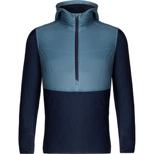 Icebreaker Descender Hybrid LS Half Zip Hood Herr granite blue-dark night heather granite blue-dark night heather