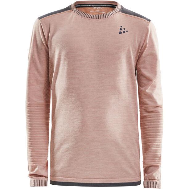 Craft Fuseknit Comfort Round Neck LS Shirt Barn touch/dark grey melange