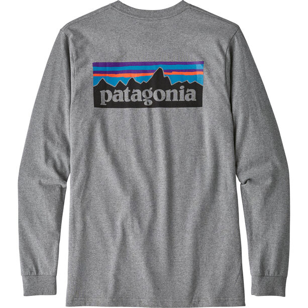 Patagonia P-6 Logo Responsibili-Tee Longsleeve Shirt Herr gravel heather