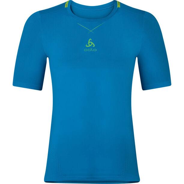 Odlo Ceramicool Seamless Shirt S/S Crew Neck Herr blue jewel-safety yellow