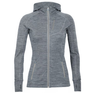 Icebreaker Quantum LS Zip Hood Dam Gritstone Heather Gritstone Heather