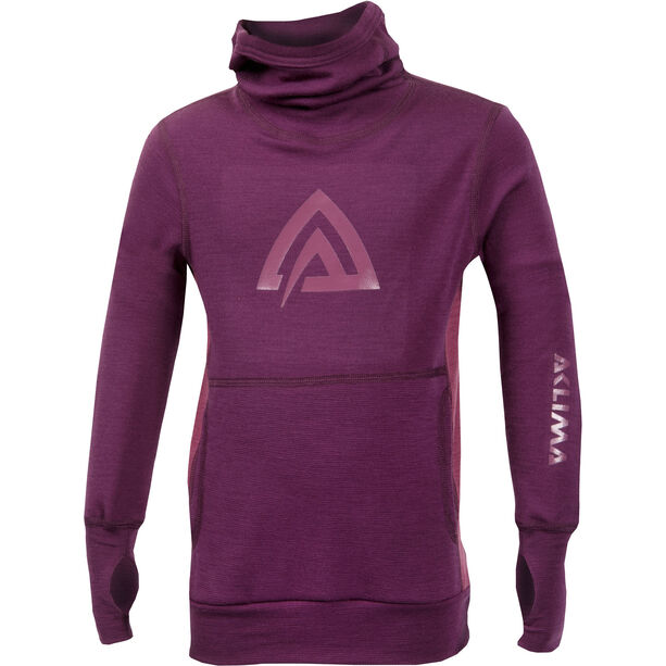 Aclima WarmWool Hood Sweater Barn grape wine/damson