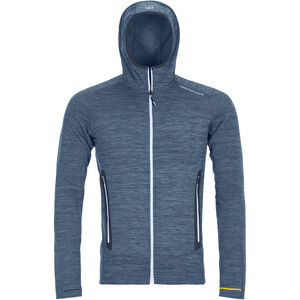 Ortovox Merino Fleece Light Melange Hoody Herr night blue blend night blue blend