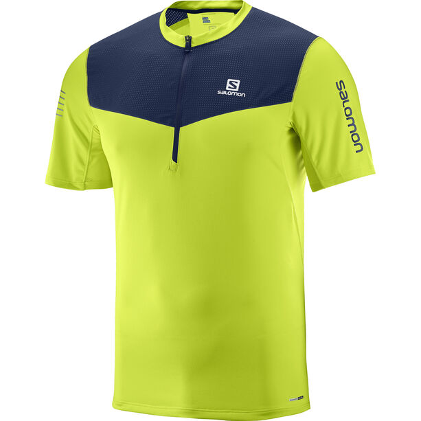 Salomon Fast Wing Half Zip SS Tee Herr acid lime/dress blue