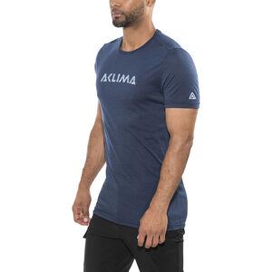Aclima LightWool LOGO T-shirt Herr insignia blue insignia blue
