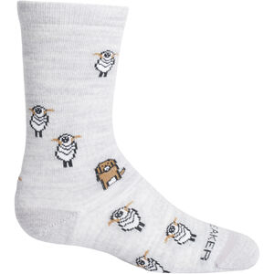 Icebreaker Lifestyle Ultralight Crew Sheep Herding Socks Barn Blizzard Heather Blizzard Heather