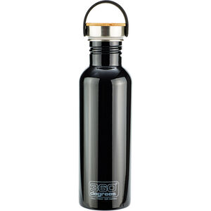 360° degrees Stainless Drink Bottle with Bamboo Cap 750ml black black