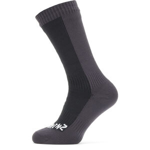 Sealskinz Waterproof Cold Weather Mid Socks Black/Grey Black/Grey