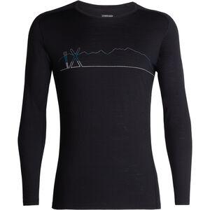 Icebreaker 200 Oasis Deluxe Raglan Single Line Ski LS Crewe Shirt Herr black black