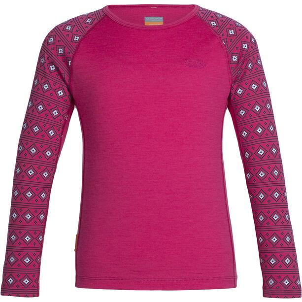 Icebreaker Oasis LS Crewe Barn pop pink/snow/pop pink