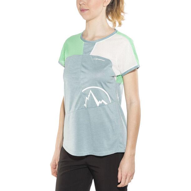 La Sportiva Push T-shirt Dam stone blue/jade green