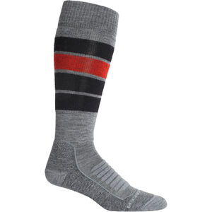 Icebreaker Ski+ Medium OTC Heritage Stripe Socks Herr Gritstone Heather Gritstone Heather