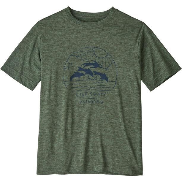 Patagonia Capilene Cool Daily SS Shirt Pojkar live simply porpoise boy/kale green x-dye