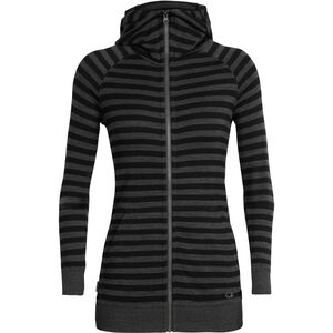 Icebreaker Crush LS Zip Hood Dam jet heather/black/stripe jet heather/black/stripe