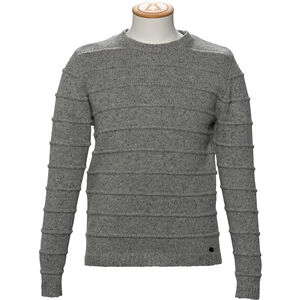 Alchemy Equipment 3GG Lambswool Tweed Stripe Stitch Crew Neck Pullover Herr Grey Tweed Grey Tweed