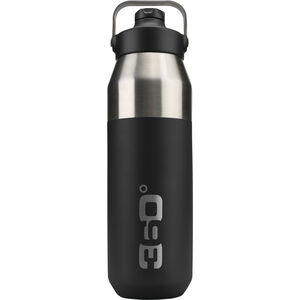 360° degrees Wide Mouth Insulated Drink Bottle with Sipper Cap 750ml black black