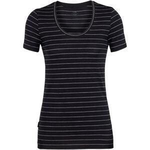 Icebreaker Tech Lite SS Scoop Shirt Dam black/snow/stripe black/snow/stripe