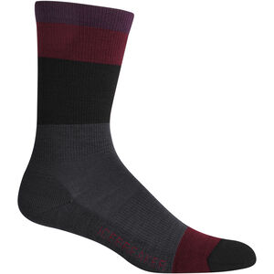 Icebreaker Lifestyle Light Crew Block Stripe Socks Dam Jet Heather Jet Heather