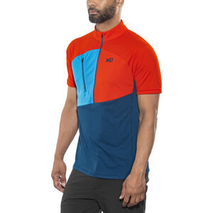 Millet Elevation Short Sleeve Zip Shirt Herr poseidon/orange poseidon/orange