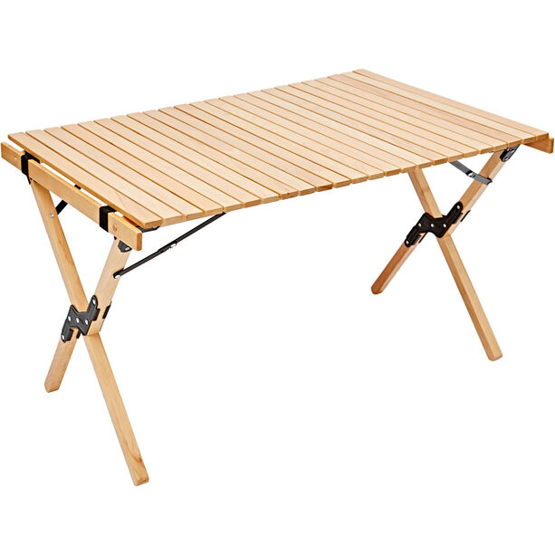 CAMPZ Beech Wood Rolling Table 90x60x53cm brown