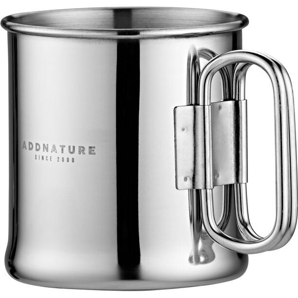 addnature Mug Stainless Steel 300ml with Folding Handle silver