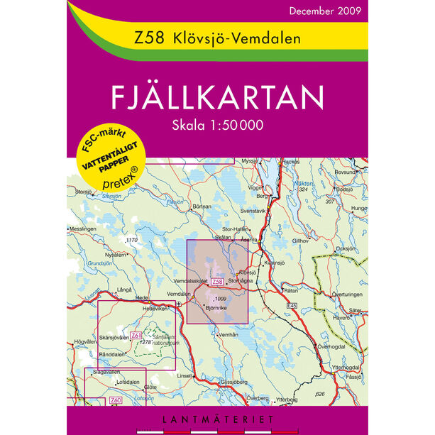 Lantmäteriet Z58 Klövsjö-Vemdalen 1:50 000