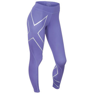 2XU Mid-Rise Compression Tights Dam imperial purple/silver logo imperial purple/silver logo