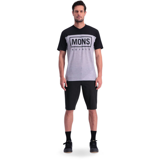 Mons Royale Redwood Enduro V-Neck T-Shirt Herr black/grey marl