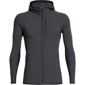 Icebreaker Descender LS Zip Hood Herr Jet Heather/Black Jet Heather/Black